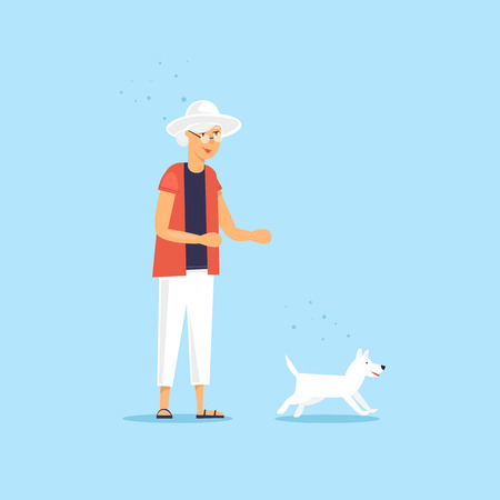 Elderly woman is walking a dog. Vector illustration flat style.
