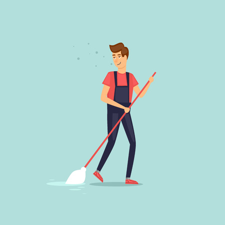 Trabajador vestido con uniforme de servicio de limpieza con una fregona. Estilo plano de ilustración vectorial. Vectores