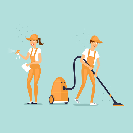Cleaning company characters dressed in uniform with cleaning equipment. Vector illustration flat style.
