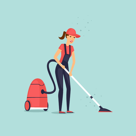 carpet clean: Worker dressed in uniform of cleaning service with a vacuum cleaner. Vector illustration flat style.