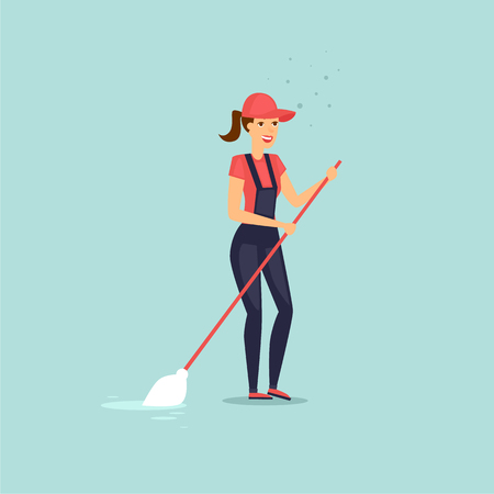 Worker of cleaning service with a mop. Vector illustration flat style. Illustration