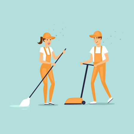 cleaning crew: Cleaning company characters dressed in uniform with cleaning equipment. Vector illustration flat style.