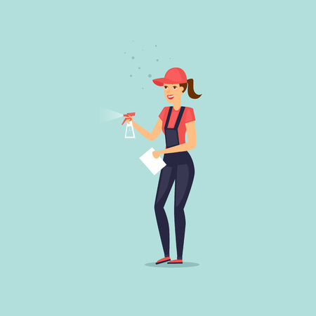 Worker dressed in uniform of cleaning service with a spray. Vector illustration flat style.