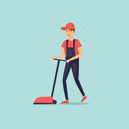 Personaje de limpieza de la compañía con equipo de limpieza. Depurador. Estilo plano de ilustración vectorial. Vectores