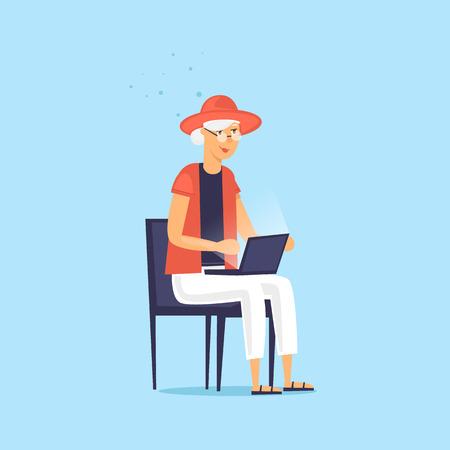 Elderly woman is sitting on the Internet. Vector illustration flat style. Illustration