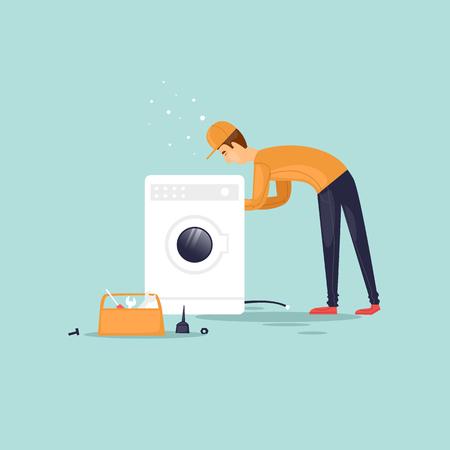washing: Handyman repairs the washing machine. Vector illustration flat style.