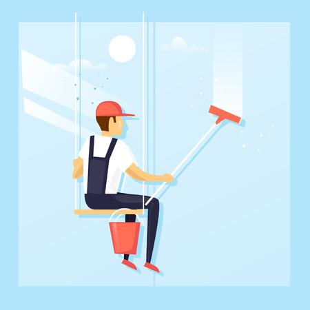 Window washer of modern skyscraper. Flat design vector illustration.