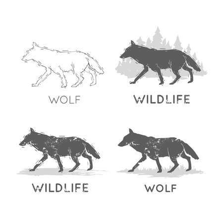 Wolf Silhouettes Wildlife hand draw. Hunting, travel, wild nature, survival. Retro, vintage.