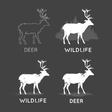 Deer Silhouettes Wildlife hand draw. Hunting, travel, wild nature, survival. Retro, vintage.
