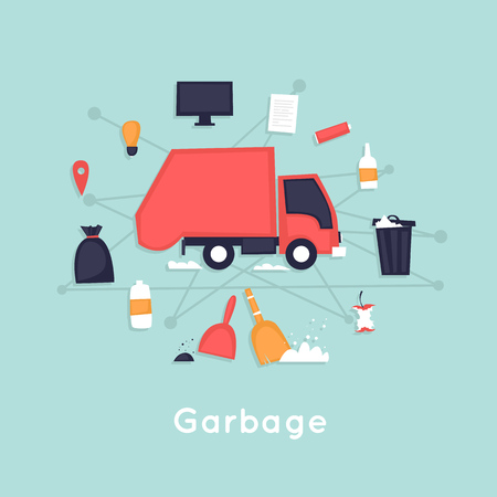 Garbage removal. Garbage truck. Flat vector illustration in cartoon style.