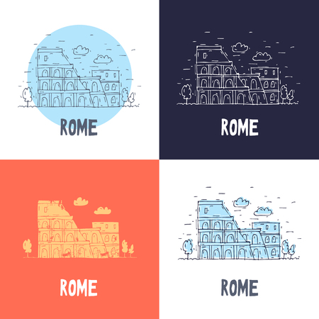 Rome Coliseum. Travel, doodle, line. Flat vector illustration.