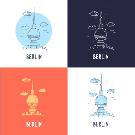 east berlin: Berlin Television Tower. Travel, doodle, line. Flat vector illustration.