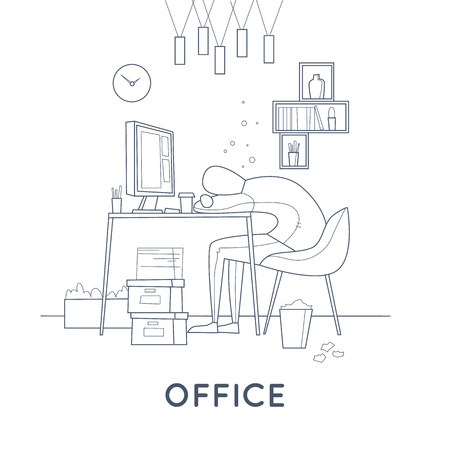 Tired employee sleeping in the office. Thin line. Flat vector illustration in cartoon style. Banco de Imagens - 77174118
