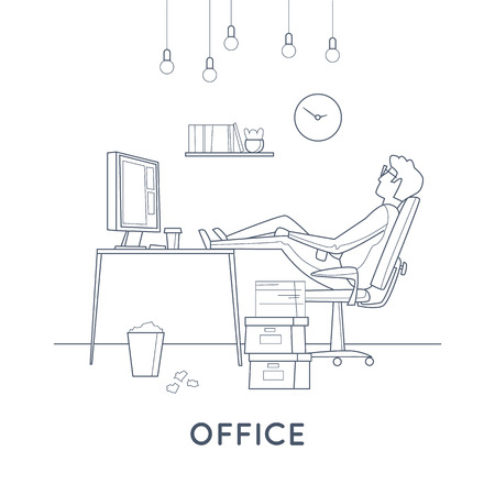Tired employee sleeping in the office. Thin line. Flat vector illustration in cartoon style.