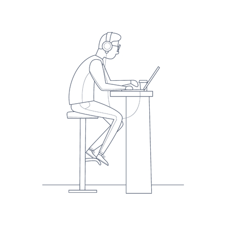 young business man: Young man working on the computer with headphones, business. Thin line. Flat vector illustration in cartoon style.