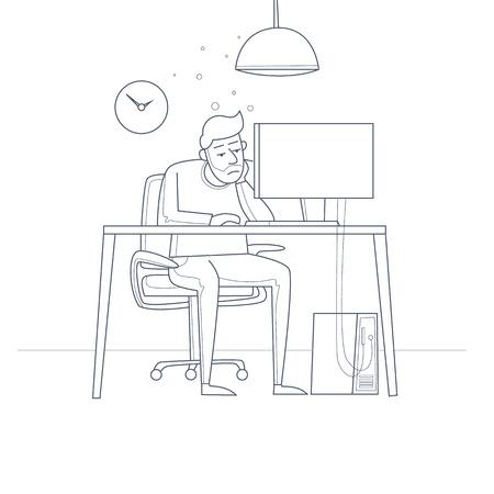 事務所の机に座って疲れた従業員。細い線。フラット ベクトル イラスト漫画のスタイルで。