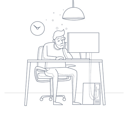 Tired employee sitting at a desk in the office. Thin line. Flat vector illustration in cartoon style. Çizim