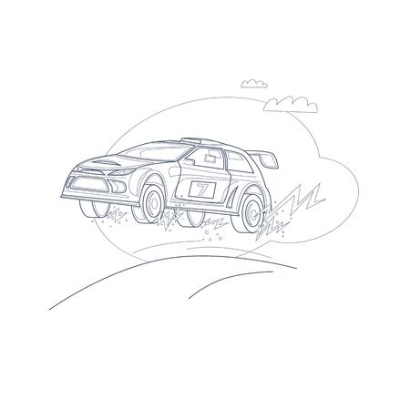 ラリー車。細い線。フラット ベクトル イラスト漫画のスタイルで。