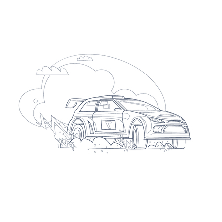 Rally car. Thin line. Flat vector illustration in cartoon style.