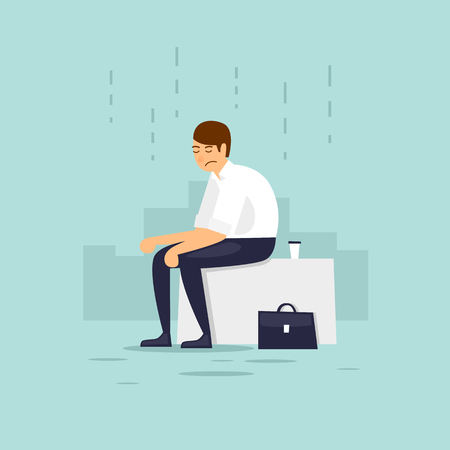 Man is depressed. Flat vector illustration in cartoon style.