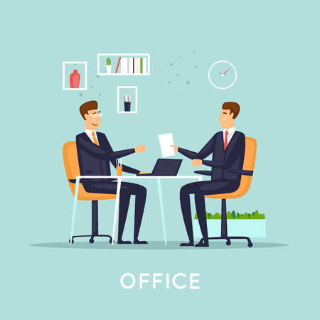 Business deal. Flat vector illustration in cartoon style.