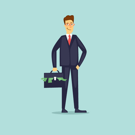 Businessman with a suitcase of money. Flat vector illustration in cartoon style. Illustration