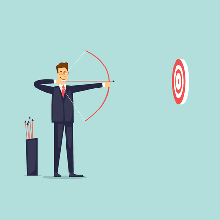 Businessman shoots an onion. Flat vector illustration in cartoon style. Ilustração