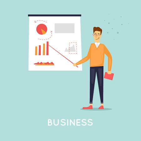 Business presentation. Flat vector illustration in cartoon style. Ilustração