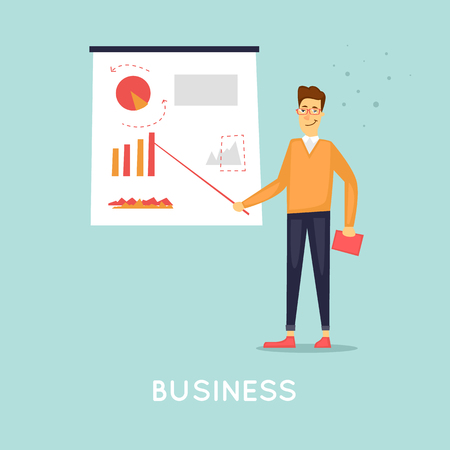 Business presentation. Flat vector illustration in cartoon style. Illustration
