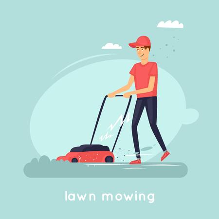 Guy falciare l'erba. Illustrazione vettoriale piatto in stile cartone animato. Archivio Fotografico - 77610803