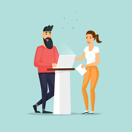 Guy and a girl are working in the office. Flat vector illustration in cartoon style.