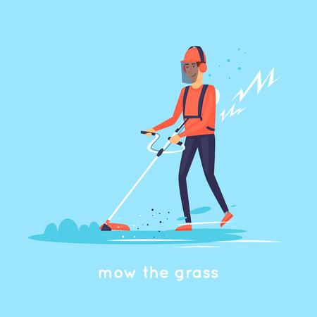Macinare l'erba. Illustrazione vettoriale di disegno piatto. Archivio Fotografico - 78671967