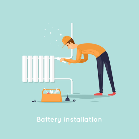 house construction: Plumber repair and installation of batteries. Flat design vector illustration.