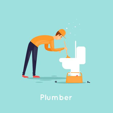 Plumber repair sewer. Flat design vector illustration. Illustration
