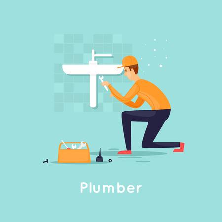 Plumber repair water supply. Flat design vector illustration. 向量圖像