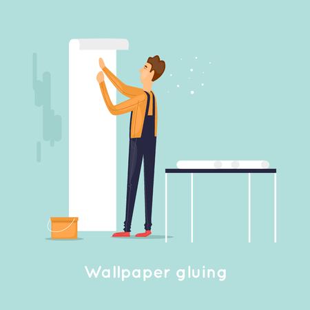 Wallpaper gluing. Flat design vector illustration.