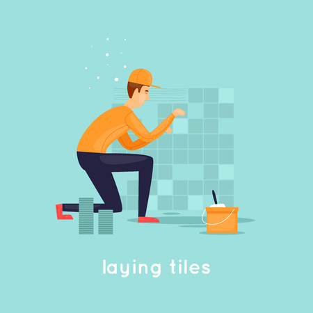 Laying tiles. Flat design vector illustration.