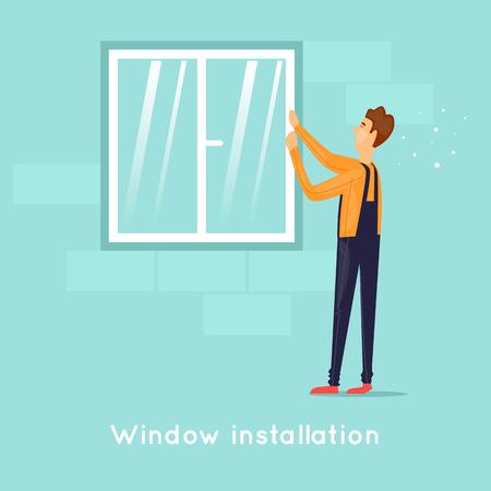 Installing windows. Flat design vector illustration.