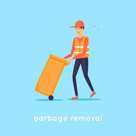 Garbage collection. Platte ontwerp vectorillustratie.