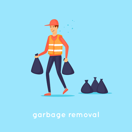 Garbage collection. Flat design vector illustration.