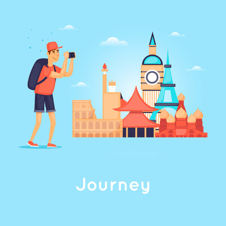 World Travel. Planning summer vacations. Tourism and vacation theme. Flat design vector illustration. Ilustrace