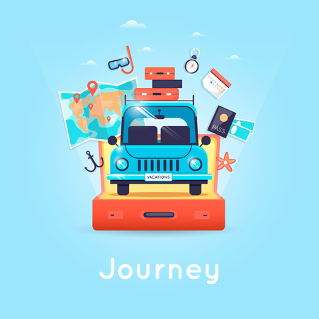 Travel by car. World Travel. Planning summer vacations. Tourism and vacation theme. Flat design vector illustration. Ilustrace