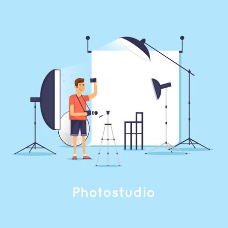 Photostudio. Flat design vector illustration. Illusztráció