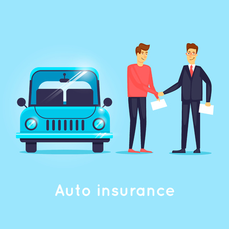 upkeep: Car insurance. Flat design vector illustration.