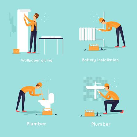 Set of workers, plumber, wallpaper gluing, battery replacement. Flat design vector illustration. Иллюстрация