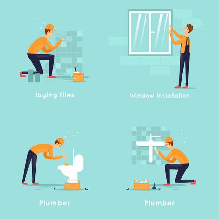 Sada pracovníků, instalatér, obkladač, instalace oken. Ploché vektorové ilustrace.