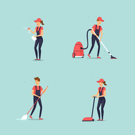 Set of cleaners. Flat design vector illustration.