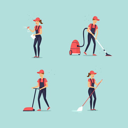 Set of cleaners. Flat design vector illustration.