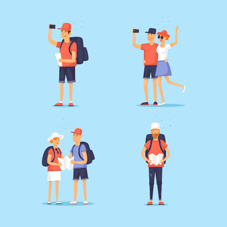 Set of tourists. World Travel. Character design. Planning summer vacations. Flat design vector illustration.