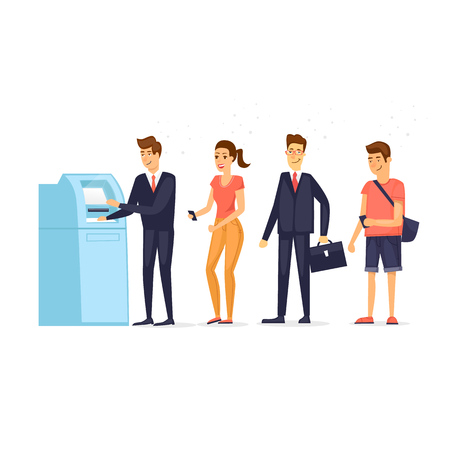 Queue to ATM. Flat design vector illustration. Illustration